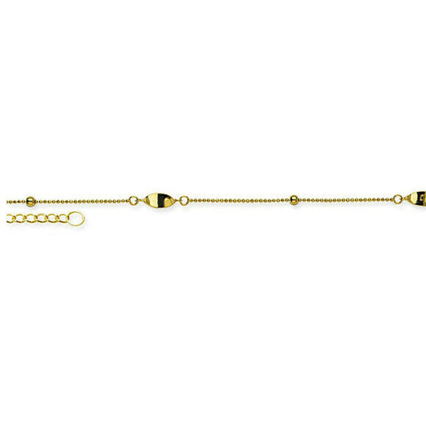 "14K Solid Gold Micro Bead Twist Anklet -Yellow 9""-10"" Adjustable"