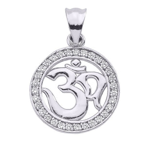 Sterling Silver OM (OHM) Symbol Round CZ Studded Pendant Necklace Made in US