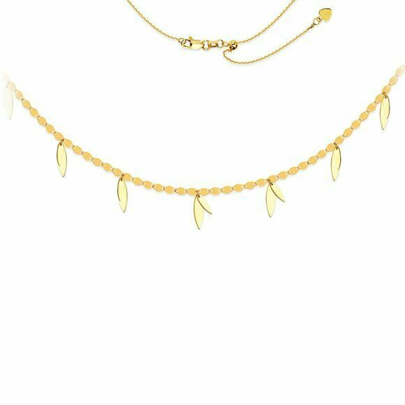 "14K Solid Gold Valentino Chain Dangle Leaf Choker Necklace Adjust 17"" - Yellow"