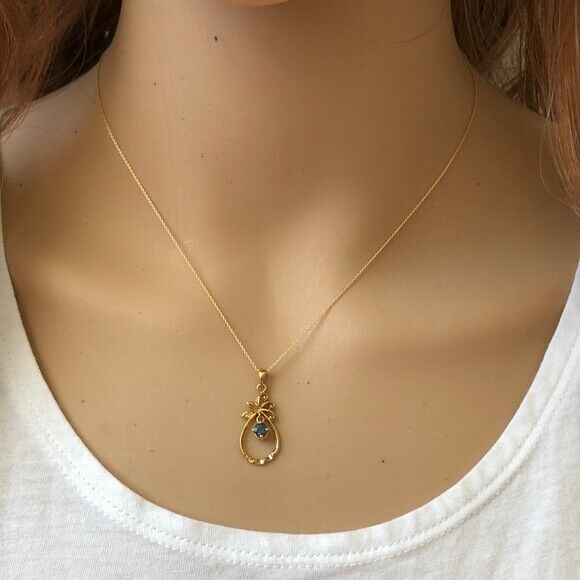 "14K Solid Gold Sapphire Dangle Pendant Dainty Necklace - Minimalist 16""-18"""