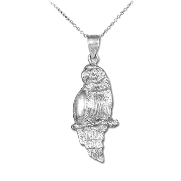"925 Sterling Silver Parrot Pendant Necklace 16"" 18"" 20"" 22"""