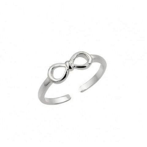 .925 Sterling Silver Rhodium Plated Mini Bow Toe Ring / Finger Ring Adjustable