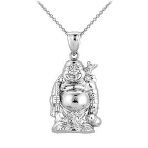 Sterling Silver Happy Laughing Large Stand Buddha Pendant Necklace Made in USA