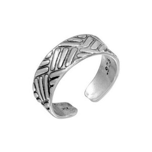 925 Sterling Silver Basket Weave Pattern Adjustable Toe Ring / Finger Ring