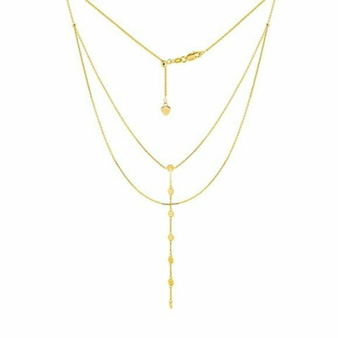 "14K Solid Yellow Gold Double Strand Disk/Dics Layer Choker Necklace 17"" adjust"