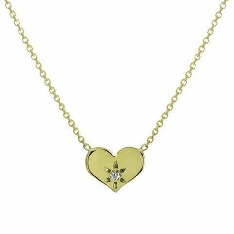 "14K Solid Yellow Gold Mini Diamond Heart Necklace 16""-18"" Adjustable"