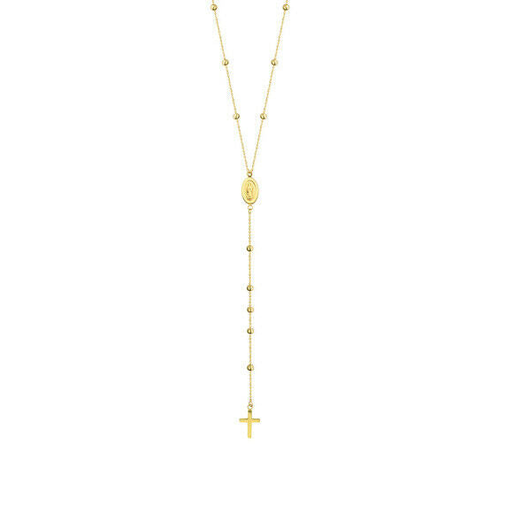 "14K Solid Yellow Gold Kids one Decade Rosary Cross Adjustable Necklace 16""-18"""