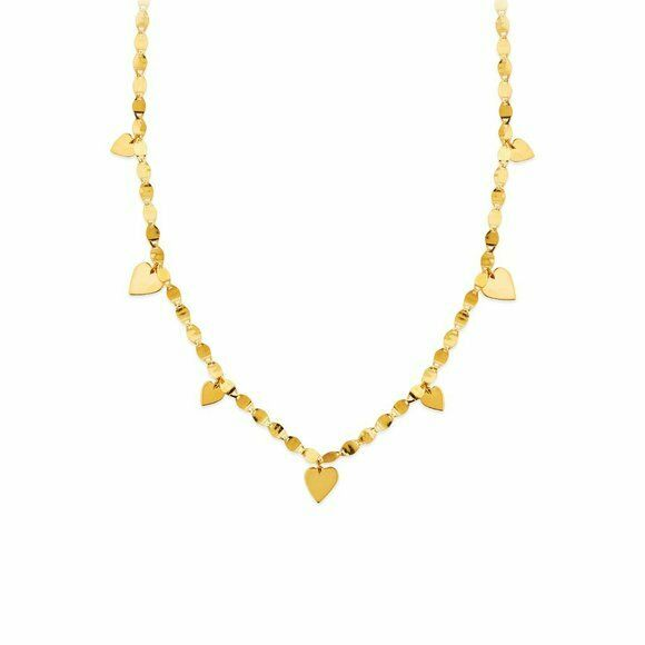 "14K Solid Gold Valentino Chain Dangle Drop Heart Necklace Adjust 18""-20"" Yellow"