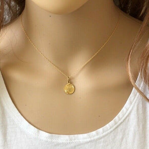 "14K Solid Gold Small Disk Engraved Snake Pendant Dainty Necklace 16""-18"""
