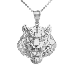 925 Sterling Silver Roaring Tiger Pendant Necklace Made in US Small