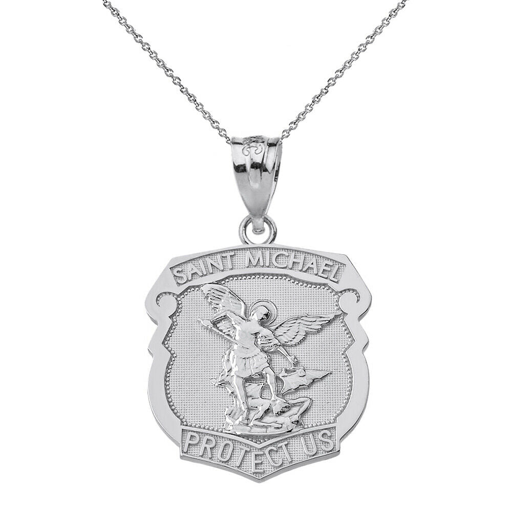 925 Sterling Silver Saint Michael Protect Us Shield Pendant Necklace Made in USA