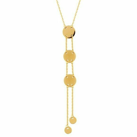 14K Solid Yellow Gold Dangle Drop 4mm and 7 mm Disk Lariat Adjustable Necklace