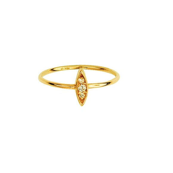 14K Solid Yellow Gold Diamond Marquise Cluster Ring Size 6 7 8 - Minimalist