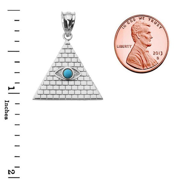 925 Sterling Silver Egyptian Pyramid with Turquoise Evil Eye Pendant Necklace