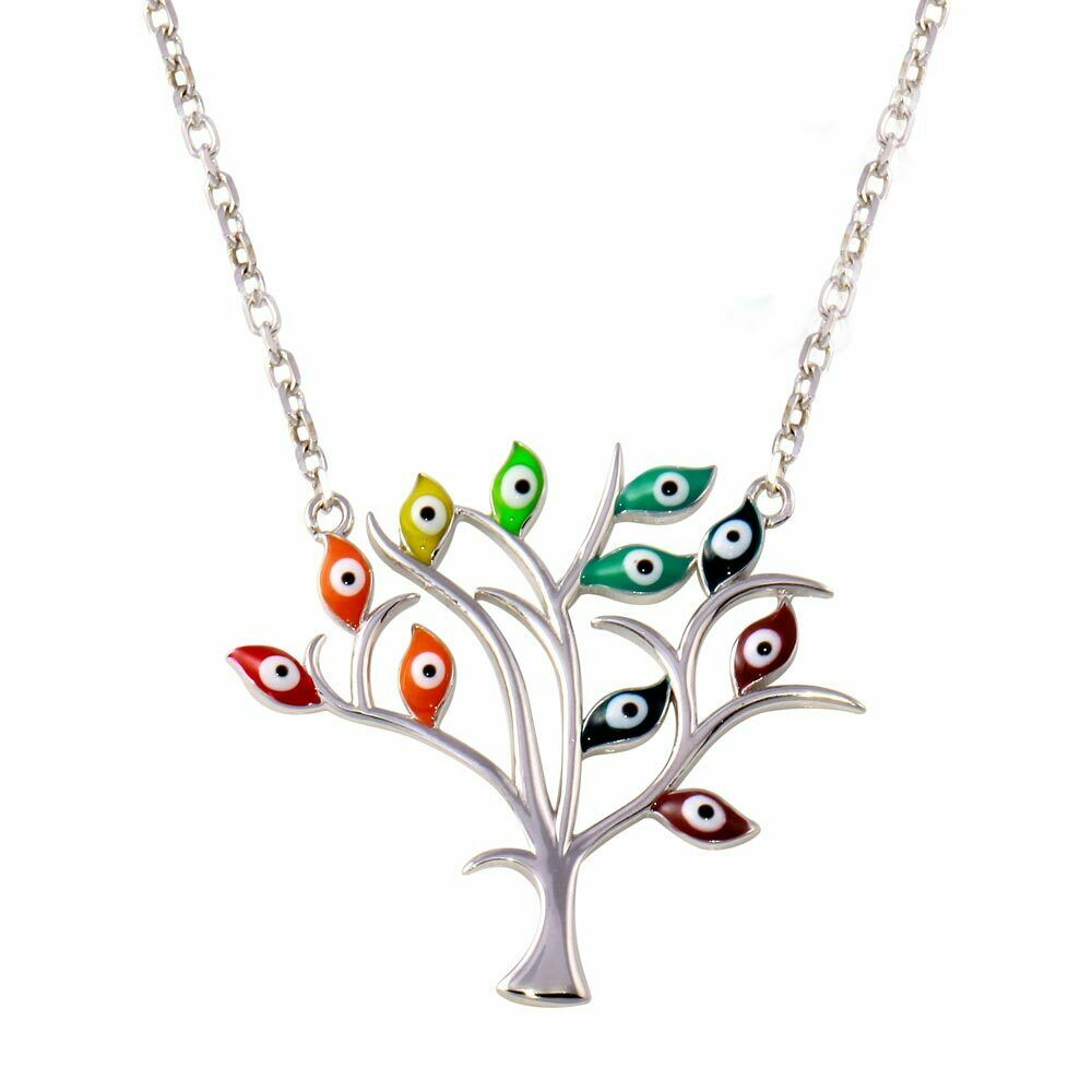 "925 Sterling Silver Evil Eye Tree of Life Adjustable Necklace 16""-18"""