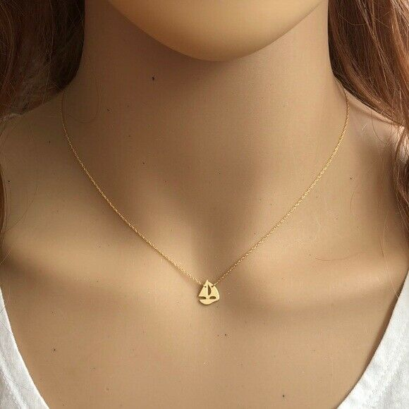 14K Solid Gold Mini Sailing Boat Dainty Necklace - Minimalist Yellow Adjust