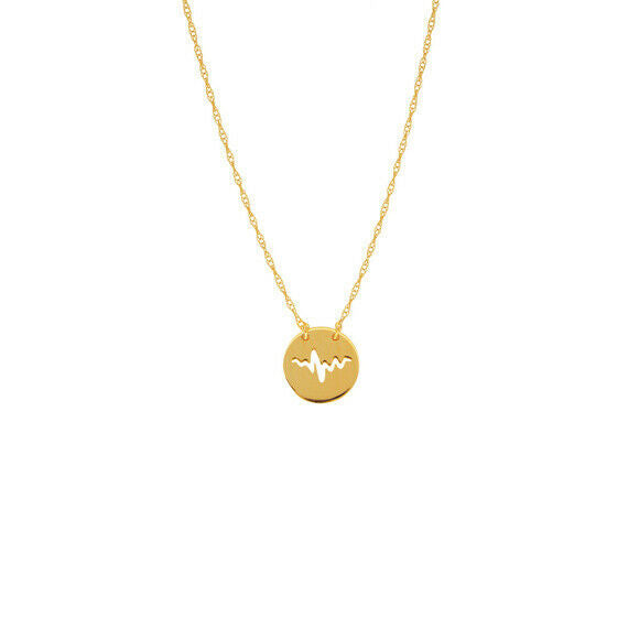 "14K Solid Gold Mini Disk Disc Heartbeat Dainty Necklace - Minimalist 16""-18"""