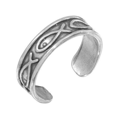 NWT Sterling Silver 925 Religious Fish Symbol Adjustable Toe/Finger Ring