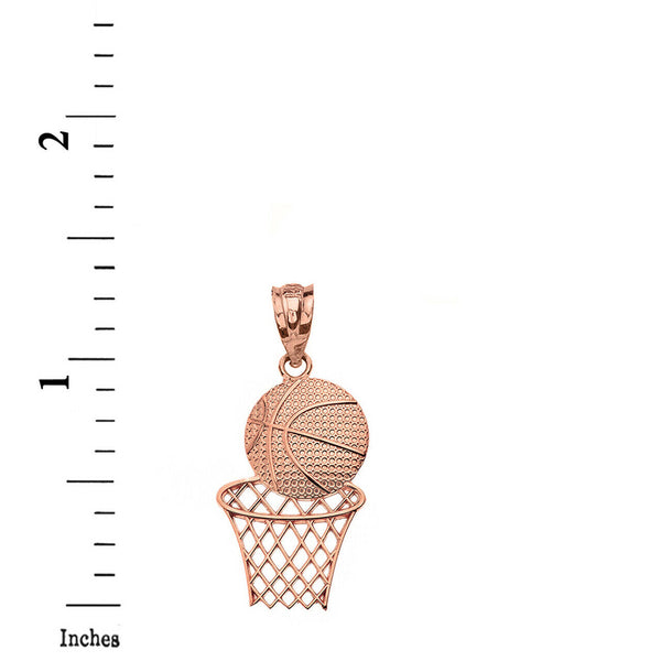 Textured Basketball Hoop Pendant Necklace in Solid Gold (Yellow/Rose/White)