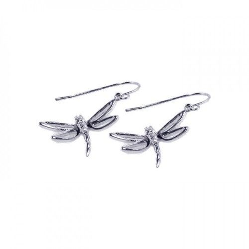 925 Sterling Silver Rhodium Plated Dragonfly CZ Hook Earrings