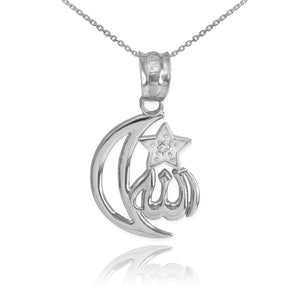 925 Sterling Silver CZ Crescent Moon Allah Pendant Necklace Star Made in US