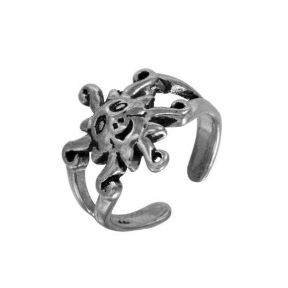 NWT Sterling Silver 925 Oxidized Sun Design Toe Ring Adjustable Finger Ring