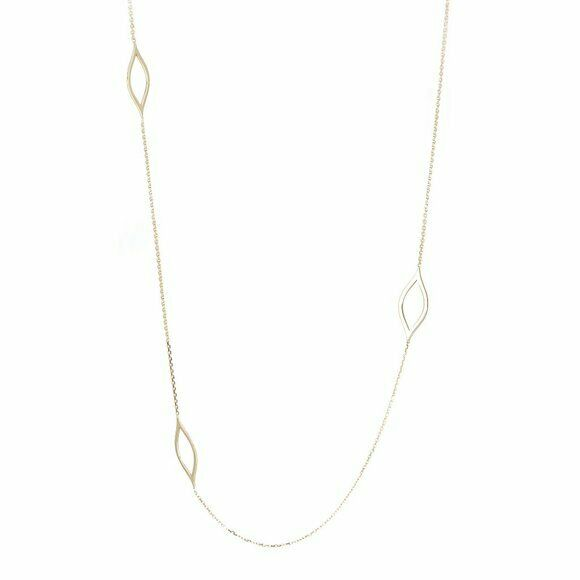 14K Solid Gold Long and Lovely Marquise Station Necklace - 36 inches Yellow
