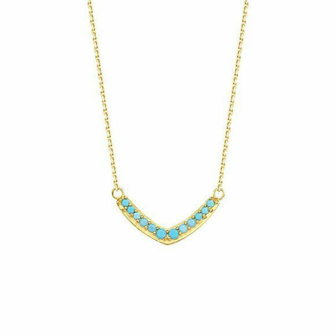 "14K Solid Yellow Gold V Nano Turquoise Adjustable Necklace 16""-18"""