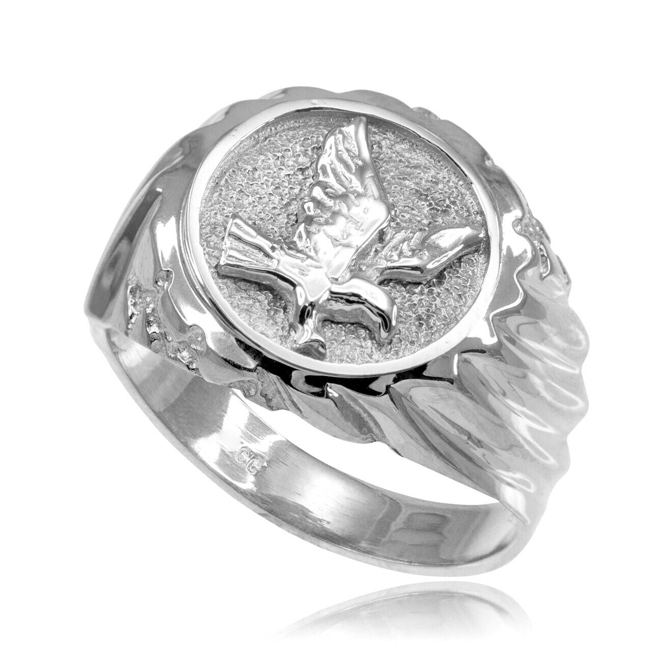 925 Pure Sterling Silver American Eagle Men's Ring All / Any Size Made in USA