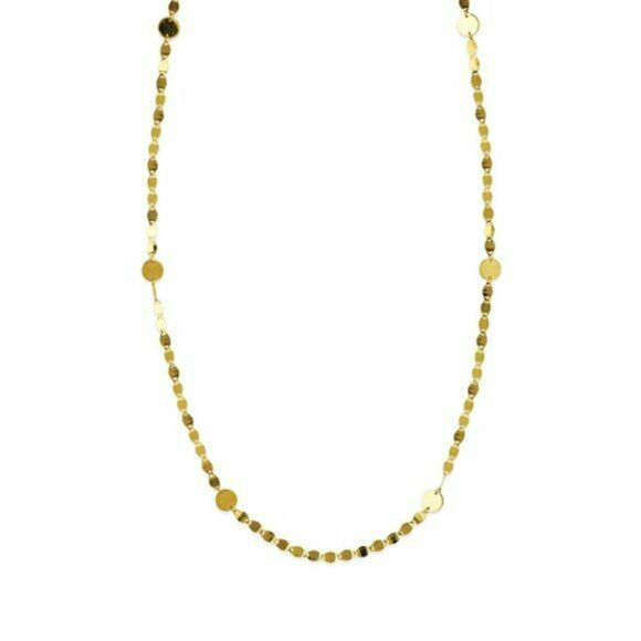 "14K Solid Gold Disk Disc Station Valentino Chain Adjustable Necklace 16""-18"""