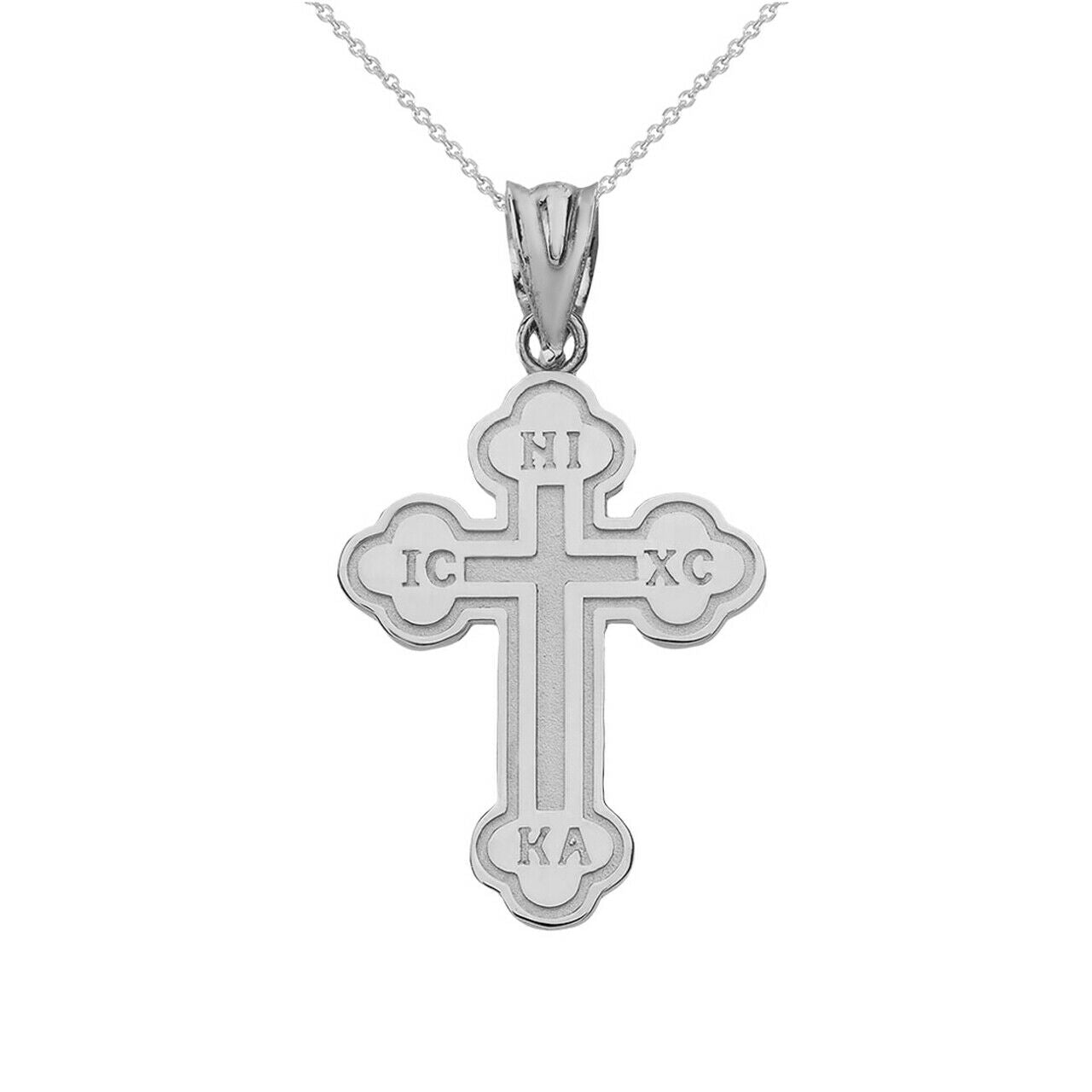 Sterling Silver Saint Nicholas Greek Orthodox IC XC Nika Cross Pendant Necklace