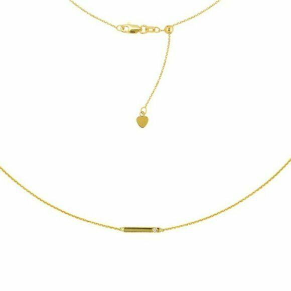 "14K Solid Yellow Gold Staple Diamond 10 mm Bar Choker Necklace 16"" Adjustable"
