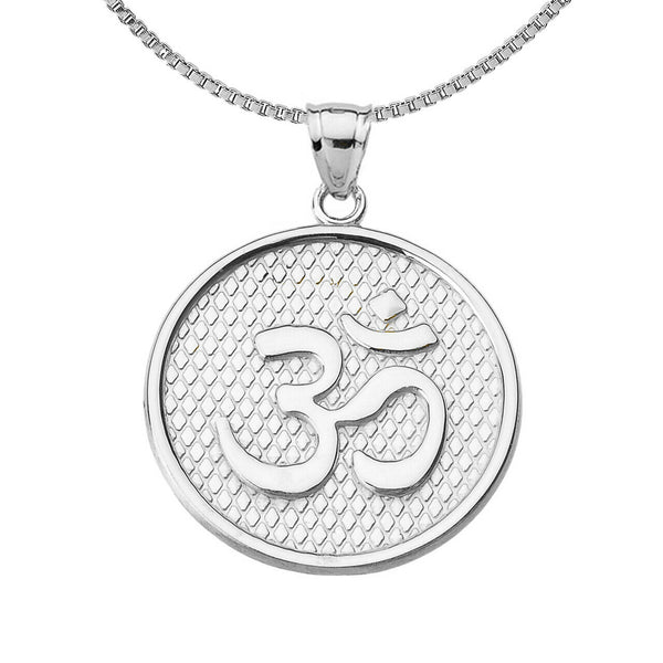 925 Sterling Silver Om /Ohm Symbol Round Pendant Necklace Made in US Meditation