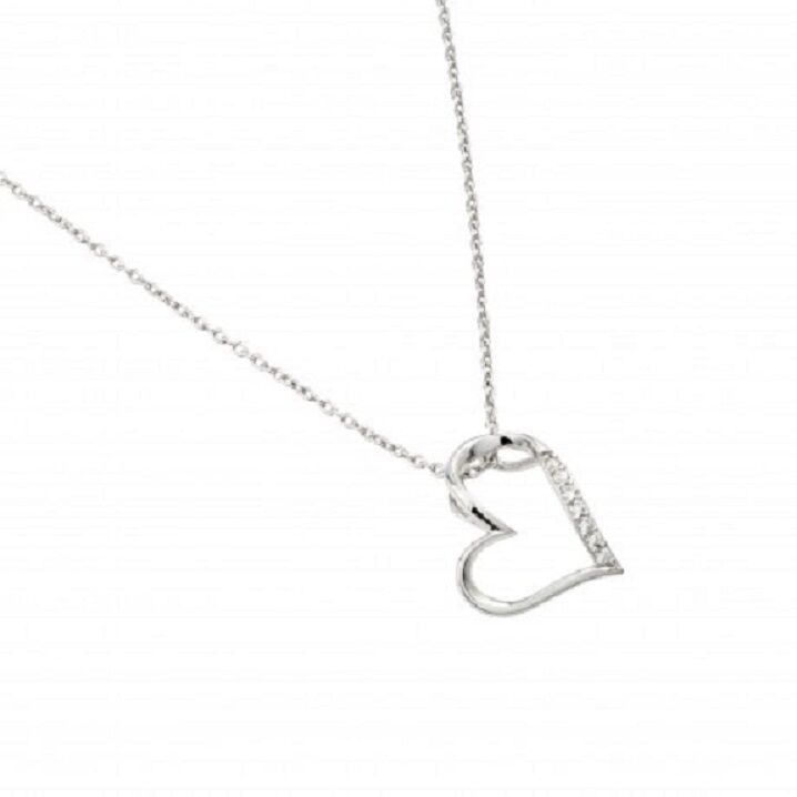 "925 Sterling Silver Rhodium Plated Slanted Heart Pendant Necklace 16""-18"""