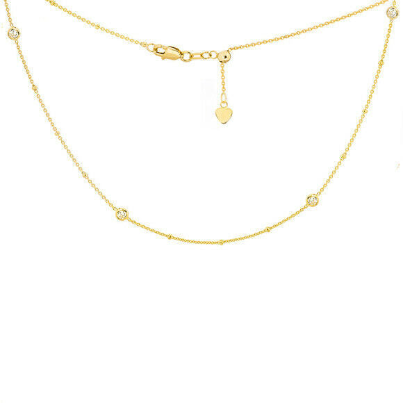"14K Solid Yellow Gold 4 Station 3.5 mm CZ Choker Necklace 16"" Adjustable"