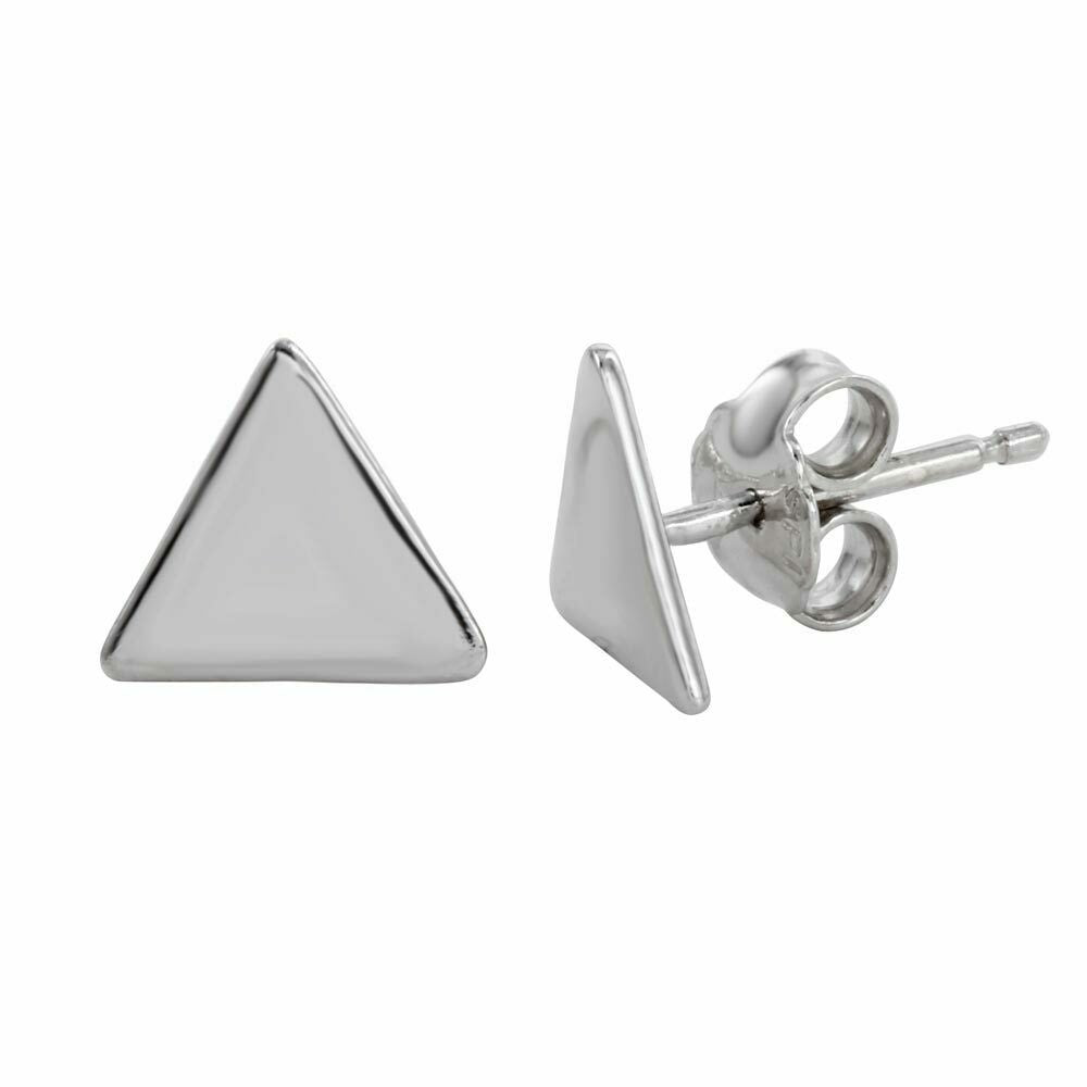 NWT Small Sterling Silver 925 Rhodium Plated Triangle Stud Earrings