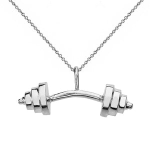 "925 Sterling Silver Bent Barbell Dead Lift Weightlifting Pendant Necklace 16""-22"