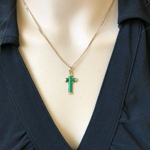 14K Yellow Gold Jesus Crucifix Green Cross Religious Pendant - P276