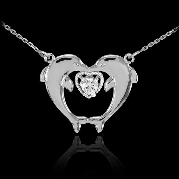 "925 Genius Sterling Silver Two Dolphins CZ Necklace 16"",18"",20"",22"" Made In USA"