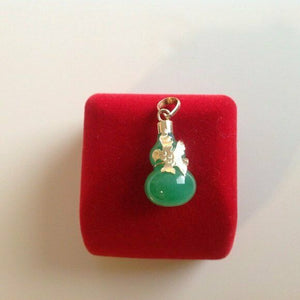 14K Solid Yellow Gold Gourd bottle B Green jade pendant