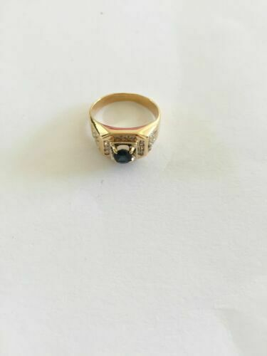 NWOT 14K Yellow gold Sapphire and diamonds Ring Size 7 Unisex