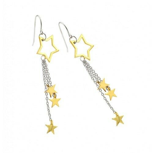 Fine Sterling Silver 925 Rhodium Plated Multiple Strand Gold Start Hook Earrings