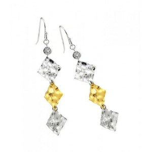 Sterling Silver 925 Rhodium Plated Gold and Clear Square Dangling Hook Earrings