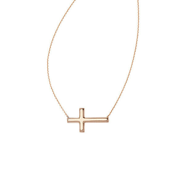 14K Solid Gold Small Sideways Cross Adjust Necklace - Yellow, White, Rose