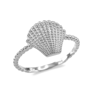 Fine .925 Sterling Silver Rope Beaded Band Atlantic Scallop Seashell Ring