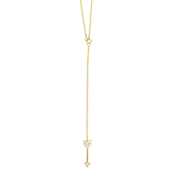 "14K Solid Gold CZ Arrow Drop Dangle Lariat Necklace 16""-18"" (White,Yellow,Rose"
