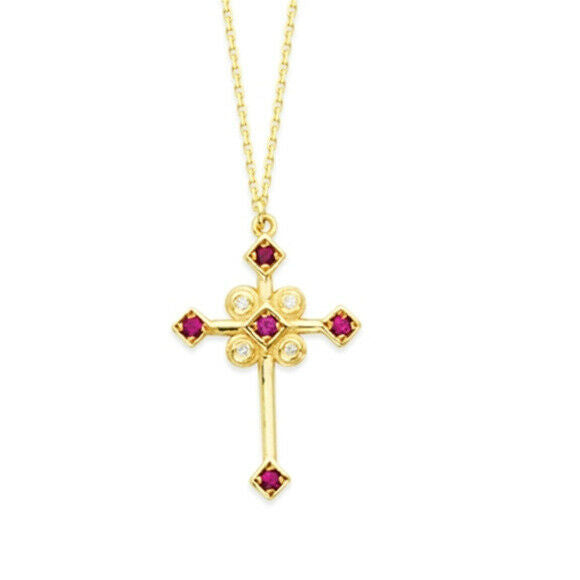 "14K Solid Gold Natural Diamond Ruby Cross Pendant Necklace Adjustable 16""-18"""