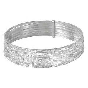 Sterling Silver High Polished Diamond Cut Semanario Bangle Bracelet 60 65 mm-139
