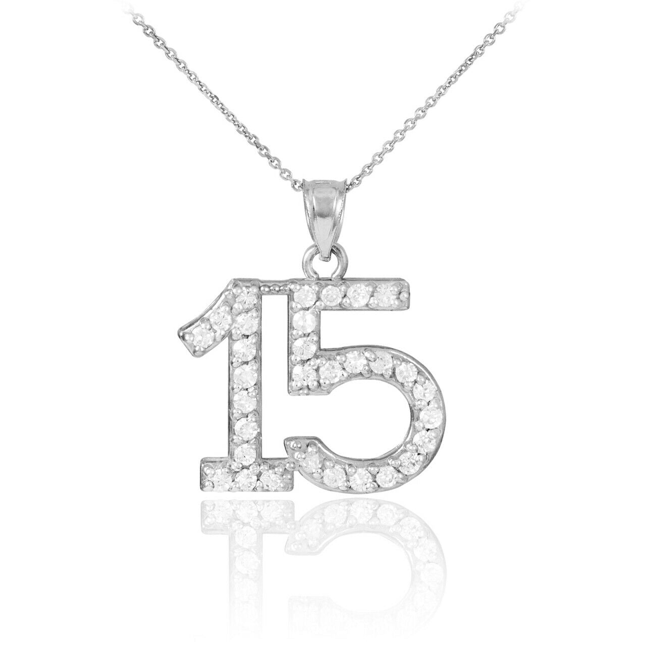"925 Sterling Silver Quiceanera 15 Anos #15 CZ Pendant Necklace 16"" 18"" 20"" 22"""