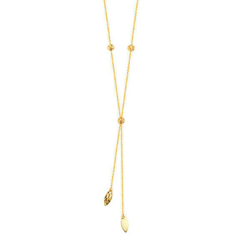 "14K Solid Yellow Gold Hammered Marquise Bead Lariat Necklace adjustable 16""-18"""